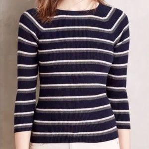 Anthropologie Moth Piper Pullover Striped Sweater